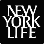 Logo of New York Life. New York Life written in white on a black square.
