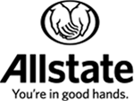 Logo of Allstate: two hands holding out. Motto: You're in good hands.